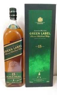 舊版Johnnie Walker GreenLabel 15年麥威士忌1公升連盒