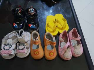 Shoes 1-2 yr. Old , pink shoes zaxi, black hi-cut w/ light s sole