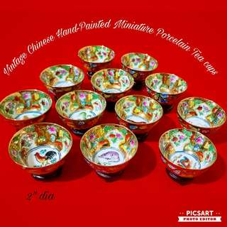 """Vintage Chinese Porcelain Teacups with Zodiac Animals in the centre and colour flowers enhanced with gold. 2"""" dia, little ones. Unused, 12pcs for $15 clearance offer, sms 96337309"""