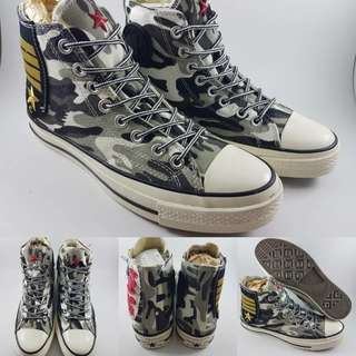 Sepatu Kets Converse Allstar 1970s Seventies Military Army Patch Grey Camouflage Abu