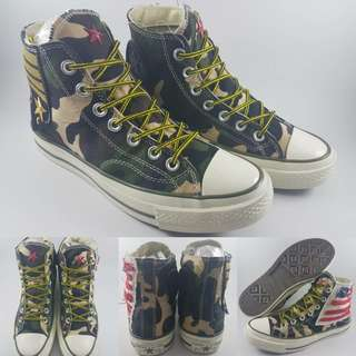 Sepatu Kets Converse Allstar 1970s Seventies Military Army Patch Green Camouflage Hijau