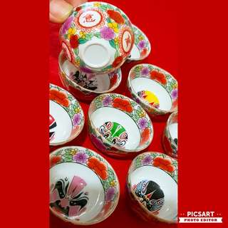 "Vintage Chinese Porcelain Teacups with Colourful Opera Masks in the centre and flowers and Auspicious Chinese words. 2"" dia, little ones. Unused, Good condition. 9pcs for $10 clearance offer, sms 96337309."