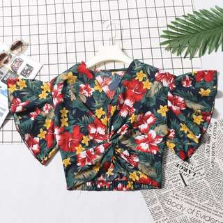[PO] 4 designs floral tropicana knotted bell sleeve top