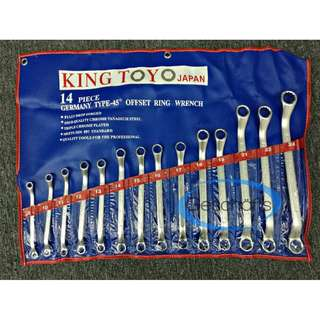 King Toyo 45' Offset Double Ring Wrench Set (14pcs)