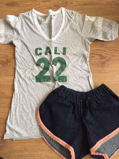 OUTFIT COMBO vneck shirt & denim shorts