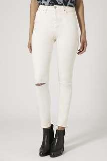 Topshop White MOTO Jamie Jeans
