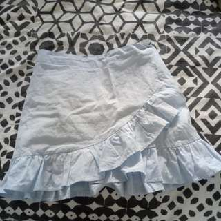 Blue and white striped wrap skirt