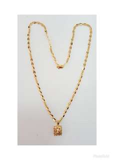 Gold plated pendant chain.