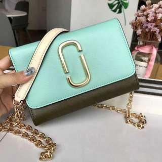 Marc Jacobs Snapshot Chain wallet - pastel green x olive green