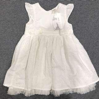(全新) H&M女寶寶無袖連身洋裝 - 白/4~6M