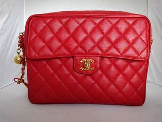 CHANEL red quilted caviar leather CC charm zip top chain shoulder bag