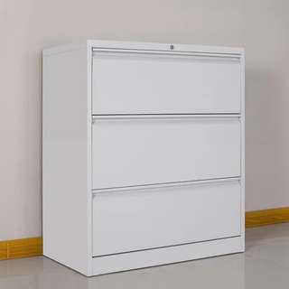 Filing Cabinet Long 3 Drawer  White Color