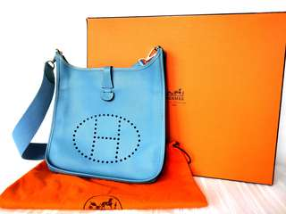 Hermes Evelyne PM blue jean Epsom leather shoulder bag