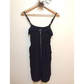 ZIP UP BLACK DRESS