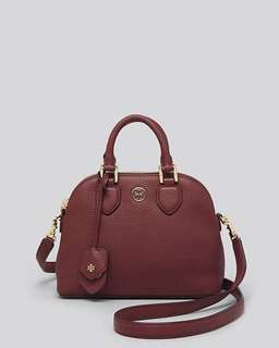 Tory Burch Mini Dome in Pebbled leather - maroon / black
