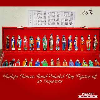 Vintage Chinese Handmade Hand-painted Mud Figures of 30 Emperors. Small & vivid. Comes with Name list. UnDisplayed. All 30pcs/box for $30 clearance offer, sms 96337309.
