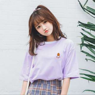 Light purple t-shirt top plain basic simple pretty cut tee short sleeves cotton #ramadan50