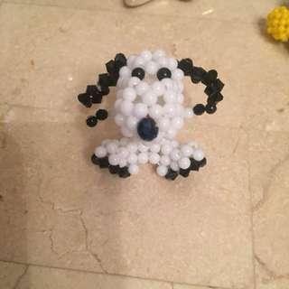 Handmade beaded Snoopy