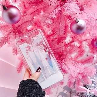 iPhone7p/8p 流沙全包電話殼 冬天款雪花樹林(全新)