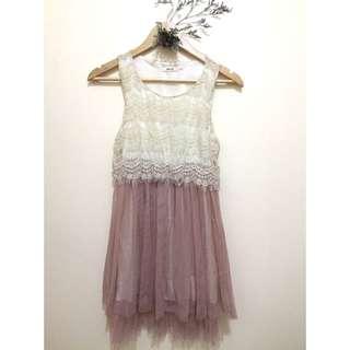 LACED DRESS OLD ROSE BOTTOM