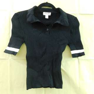 Forever 21 Ribber Black with White Polo Shirt