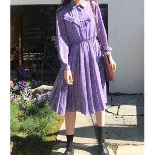 Chiffon Ruffle Folded Midi Dress Ulzzang Purple Floral