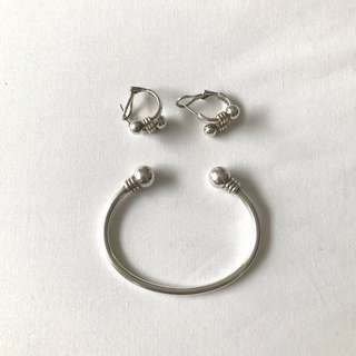 Genuine Links of London sterling silver bangle and earrings set