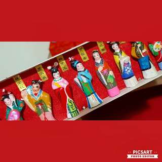 Vintage Chinese Handmade Hand-painted Mud Figures of famous Chinese Maiden in their History or Folklores. Small, vivid and interesting. Comes with names. UnDisplayed. All 12pcs/box for $12 clearance offer, sms 96337309.