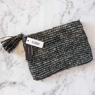 EL CABELLO new with tags handmade grey woven fringe tassel clutch bag