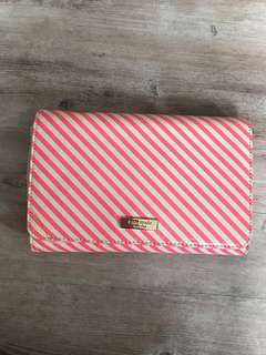Kate spade pink and white stripe clutch