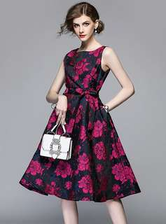 Formal: Tie Waist Jacquard Floral Tank A-Line Dress (M / L / XL / 2XL) - OA/XKE033023