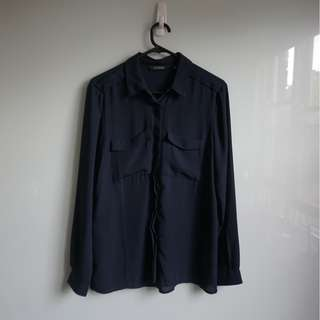 Glassons Women's Navy Button up Blouse (Size S)