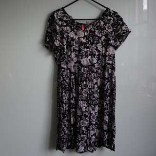 H&M floaty sundress with black and white floral pattern