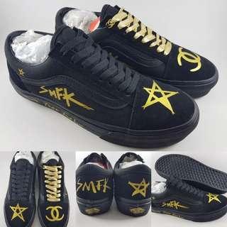 Sepatu Kets Vans Old Skool SMFK Paris Suede Black Gold Hitam Emas