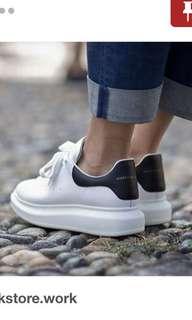 Alexander McQueen suede trimmed white sneakers replica