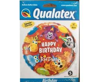 (25/4) Include helium Happy Birthday Safari Animal Party Foil Balloon