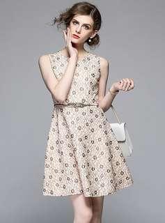 Casual: Apricot Lace Floral Tank A-Line Dress (S / M / L / XL) - OA/XKE033021