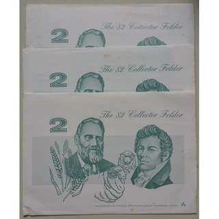 Australia $2 paper banknotes in folder SCARCE x 3 sets