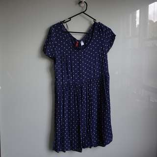H&M Navy Blue Spotted Sundress with lace up detail (Size S)