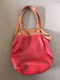 Red and tan leather bag by Country Road