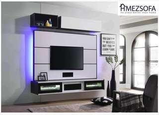 TV feature wall with installations.