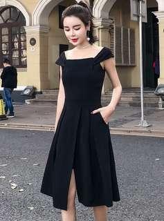 Formal: Black Square Collar Split Tank A-Line Dress (S / M / L / XL / 2XL) - OA/XKE033001