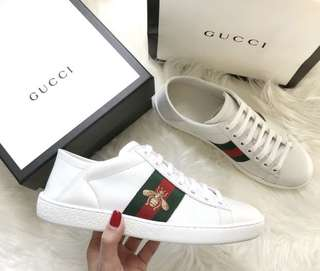Gucci 'ACE' BEE EMBROIDERED WEB STRIPE LEATHER STEP-IN SNEAKERS
