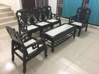 Hard wood marble table & chair set