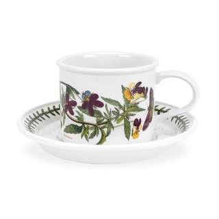Portmeirion Botanic Garden Seconds SMALL Mocha Cups 3.5 oz and Saucers Set of 6 No Guarantee of Flower Design