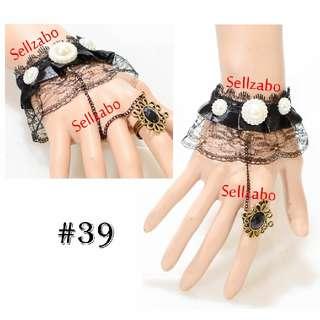 #39 Lace Bracelet Cum Ring Black Colour Sellzabo Mesh Netted Hands Wrists Accessories Hari Raya Deepavali Muslim Muslimah Malays Indians