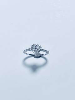 心形鑽石18K白黃金戒