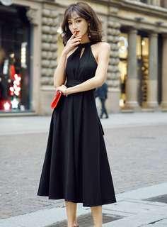 Maxi: Black Tie Waist Off Shoulder Tank Long Dress (S / M / L / XL / 2XL) - OA/YZE032319