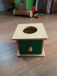 Montessori Imbucare box with soft ball