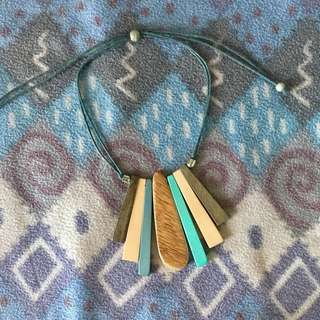Kultura Pastel-Colored Wooden Necklace/Choker